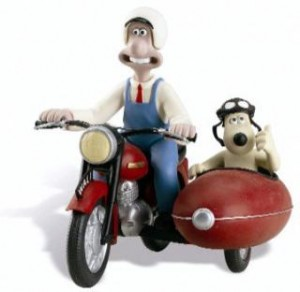 Wallace. With Gromit, in a side car.