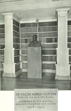 Bust of Walter Morley Fletcher, in its original location in the Library at NIMR, Hampstead