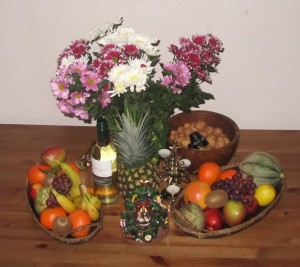 Fruits and flowers for New Year